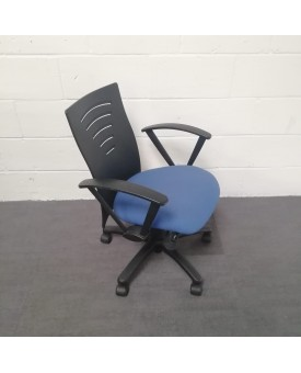 Blue and black operator chair