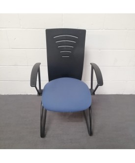 Blue and black static chair