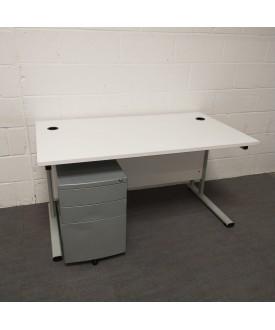 White Straight Desk and Pedestal Set - 1400 x 800
