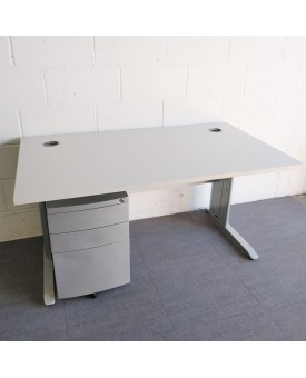 Light grey Straight Desk and Pedestal Set - 1400 x 800