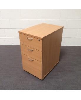 Beech left handed corner desk set with desk high pedestal- 1600 x 1200
