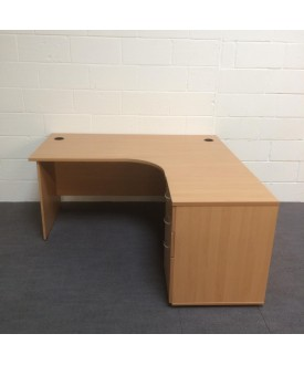 Beech right handed corner desk set with desk high pedestal- 1600 x 1200