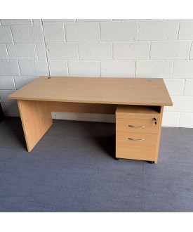 Beech straight desk with pedestal set- 1600 x 800