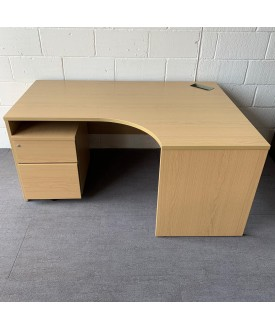 Beech right handed corner desk and pedestal set - 1600 x 1180