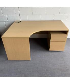 Beech left handed corner desk and pedestal set - 1600 x 1180