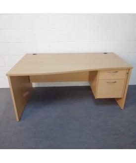 Beech left handed wave desk and pedestal set- 1600 x 800-1000