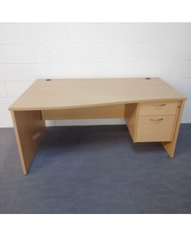 Beech left handed wave desk and pedestal set- 1600 x 800-1000