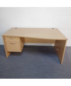 Beech right handed wave desk and pedestal set- 1600 x 800-1000
