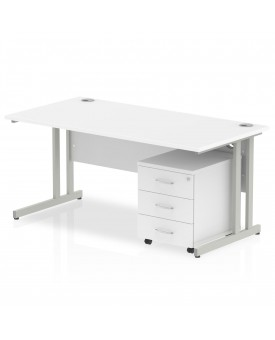 BRAND NEW Straight economy desk set with pedestal - 1600mm x 800mm- SPECIAL OFFER