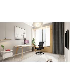 Oslo Single White Frame Wooden Leg Desk 1200 x 800