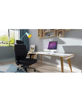 Oslo Single White Frame Wooden Leg Desk 1600 x 800