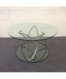 Glass top spiral base coffee table