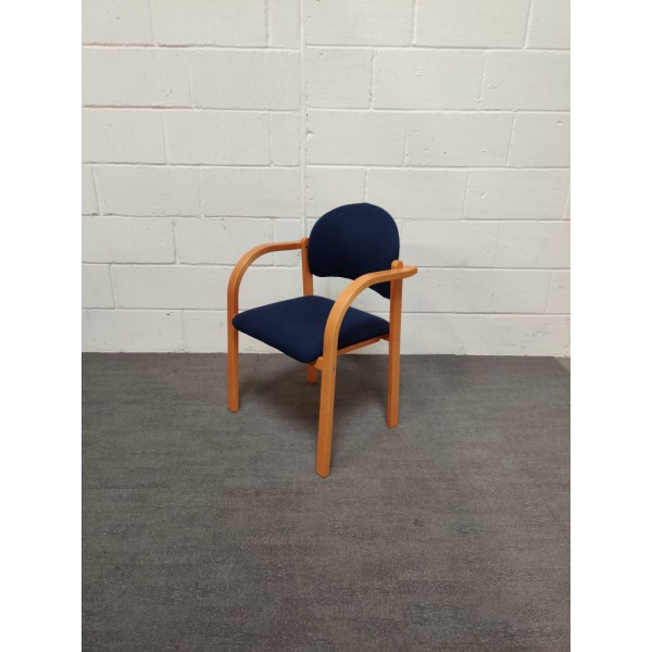 Wooden and Blue Static Chair