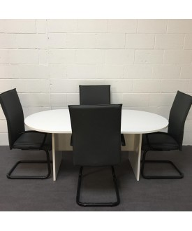 White meeting table and chair set- 1800 x 1000