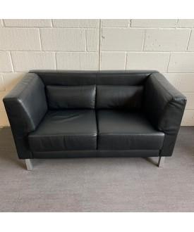 Black leatherette sofa