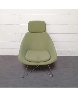 Green reception chair with headrest