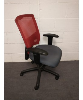 Red and grey mesh chair