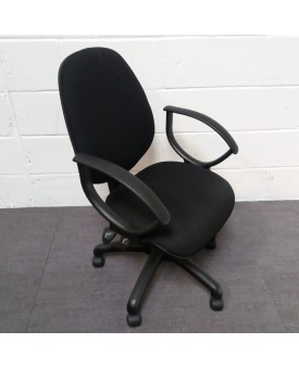 Black Operator Chair- fixed arms