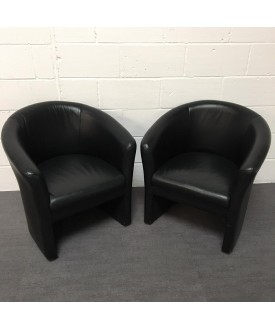 Black Leatherette Tub Chair Pair