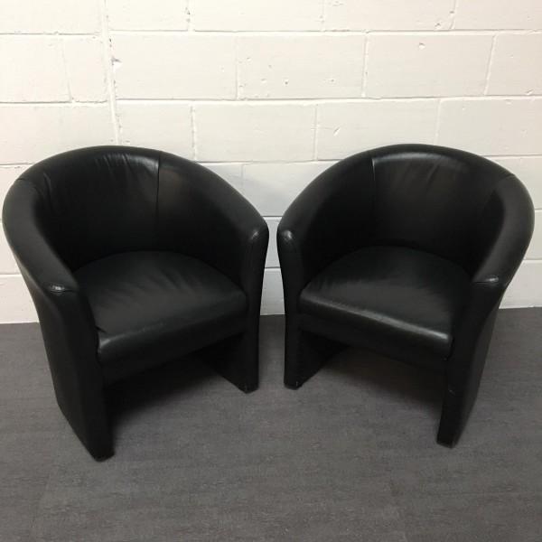 Black Leatherette Tub Chair Pair