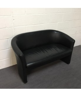 Black Leatherette Two Seater Sofa