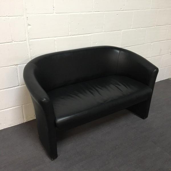 Black Leatherette Two Seater Sofa