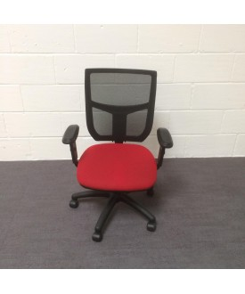 Mesh back operator chair- burgundy