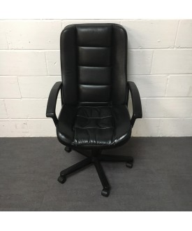 Black Leatherette chair- fixed arms