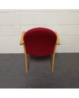 Red meeting chair- wooden frame