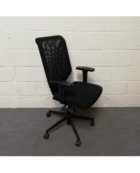 Black Leather Mesh Back Task Chair- adjustable arms