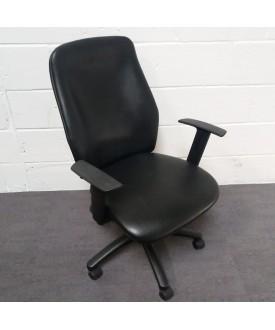 Black Leather Task Chair- adjustable arms