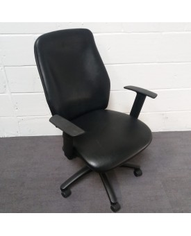 Black Leather Task Chair- adjustable arms