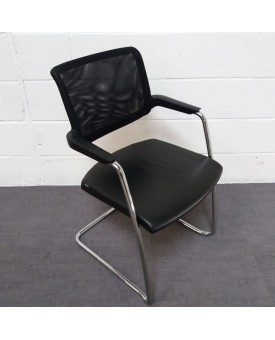 Black leather meeting chair- mesh back
