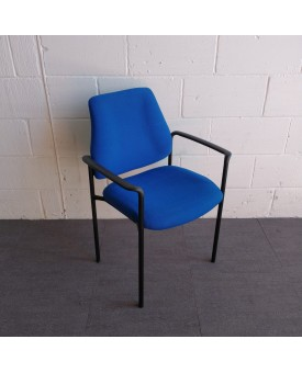 Blue Static Chair With Black Arms