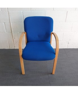 Blue Static Chair With Wooden Arms