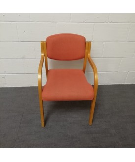 Orange patterned meeting chair- wooden frame