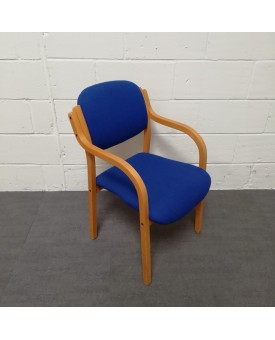 Blue meeting chair- wooden frame