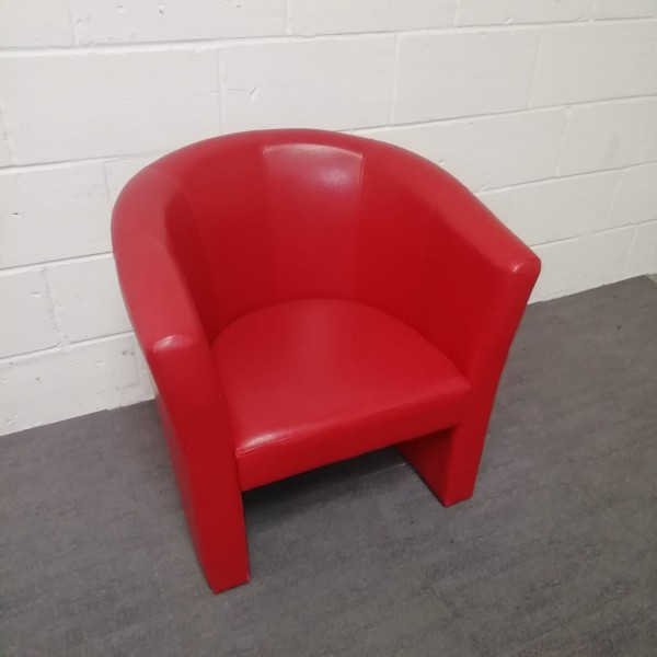 Red Leatherette Tub Chair