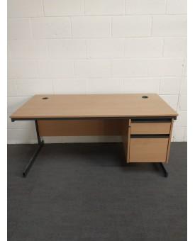 Beech straight desk and pedestal set- 1530 x 750