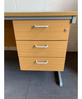 Beech straight desk and pedestal- 1550 x 770