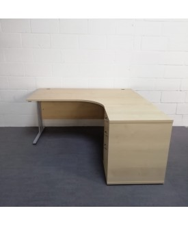 Maple right handed corner desk set with desk high pedestal- 1600 x 1200