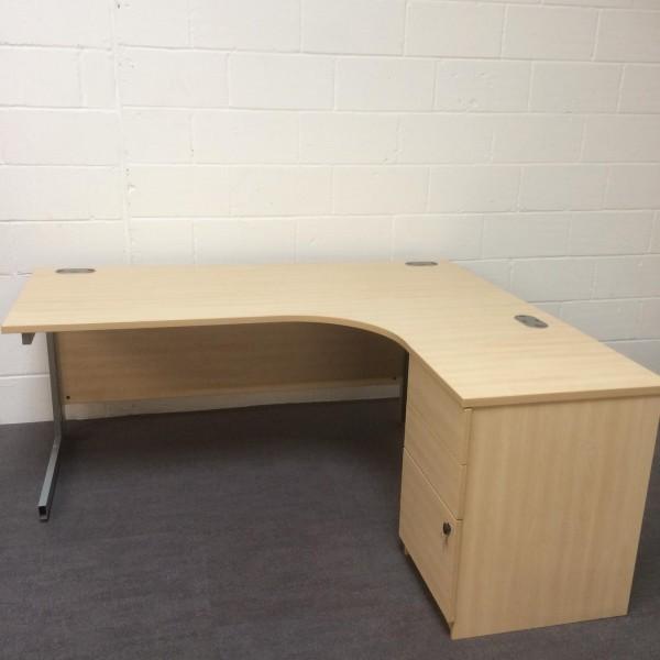 Maple right handed corner desk set with desk high pedestal- 1800 x 1200