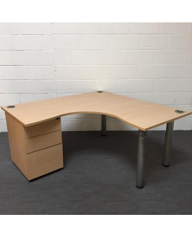 Beech corner desk- 1600 x 1600 with pedestal included