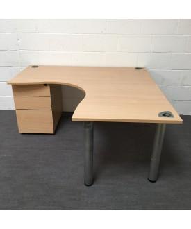 Beech corner desk- 1600 x 1600 with pedestal included