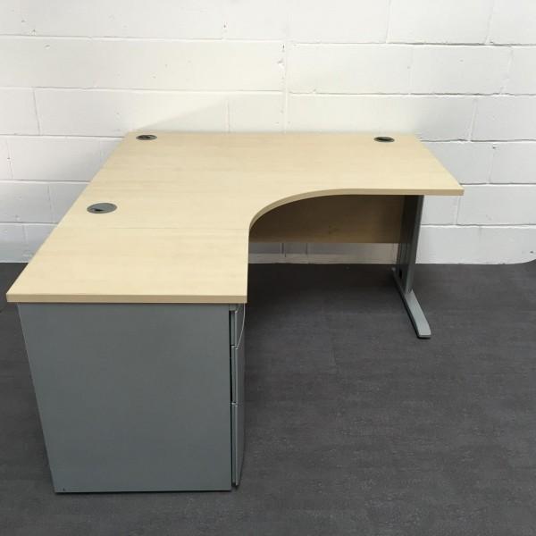 Maple left handed corner desk set with desk high pedestal- 1600 x 1200