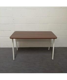 Walnut and white straight desk- 1200 x 600