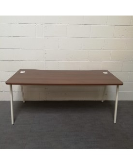 Walnut and white straight desk set with desk high pedestal- 1800 x 800