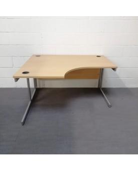 Light beech left handed corner desk - 1400 x 1200