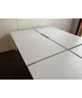 White benches pod of 4- 1600 x 800 per desk