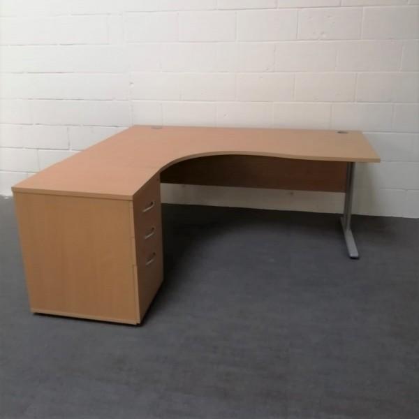 Beech left handed corner desk set with desk high pedestal - 1800 x 1200